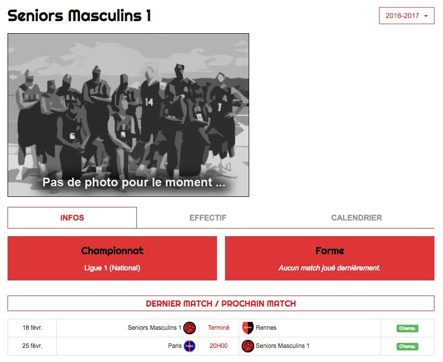 Falcons - Fiche équipe Info - Kalisport