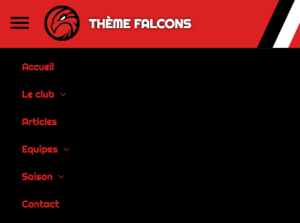 Falcons - Menu mobile - Kalisport
